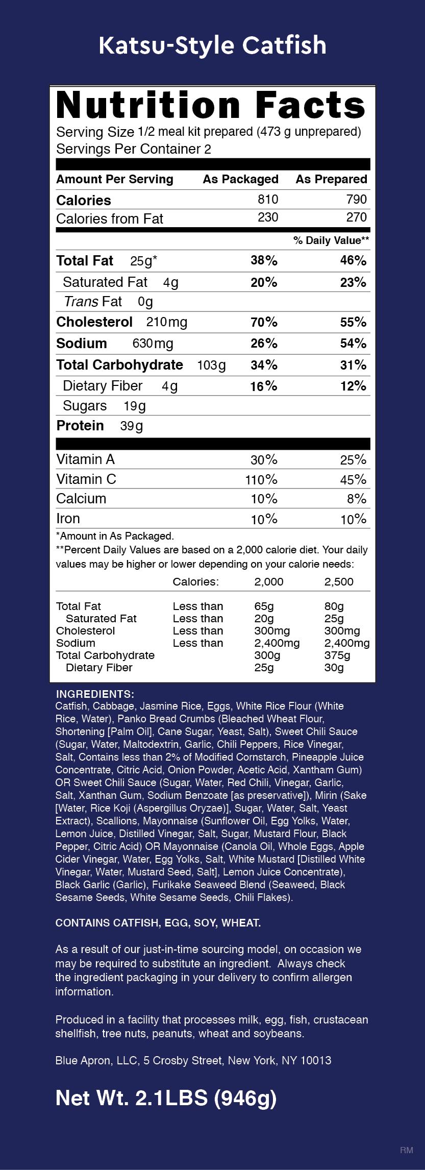 Blue apron katsu catfish - Nutrition Label