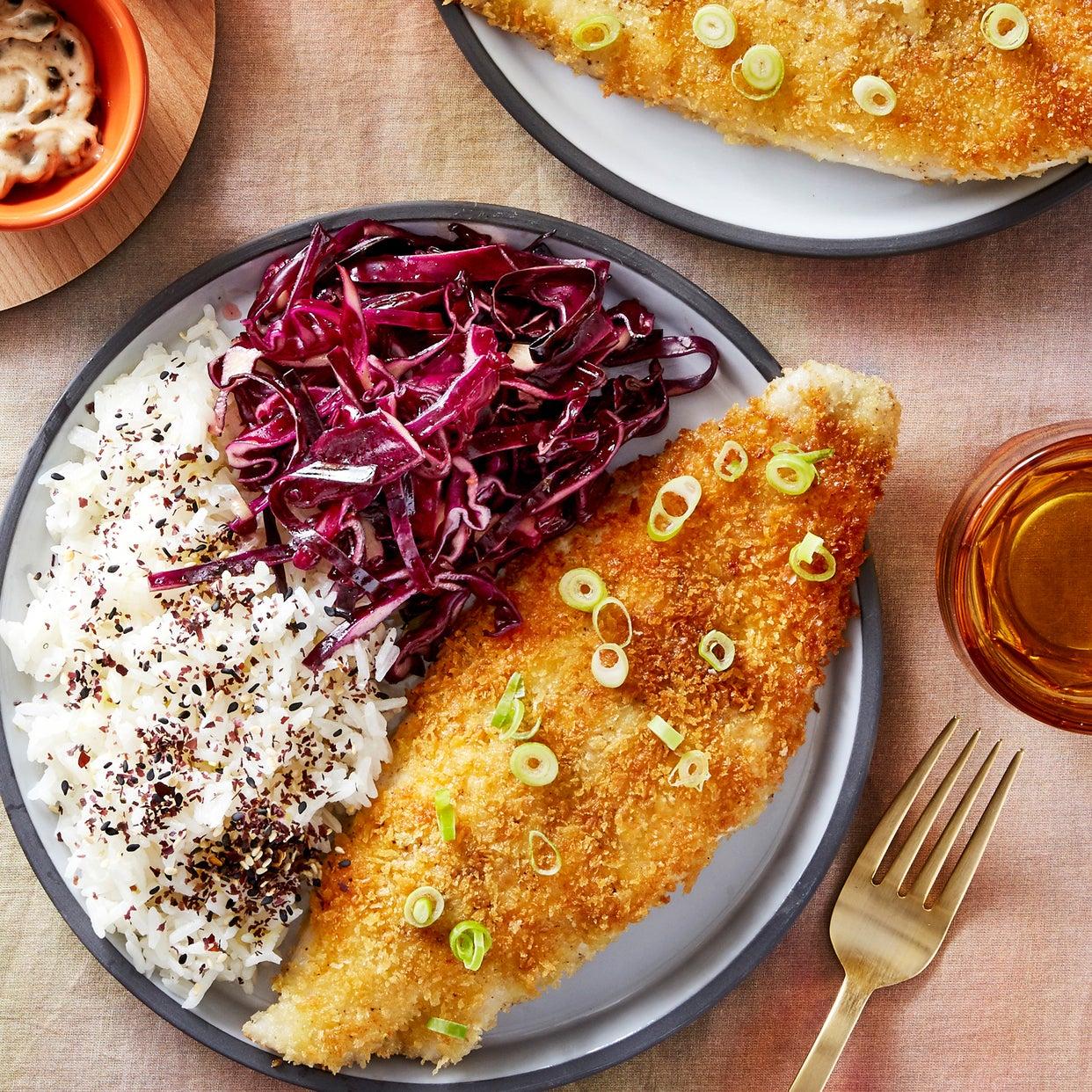 Katsu-Style Catfish with Black Garlic Mayonnaise & Jasmine Rice