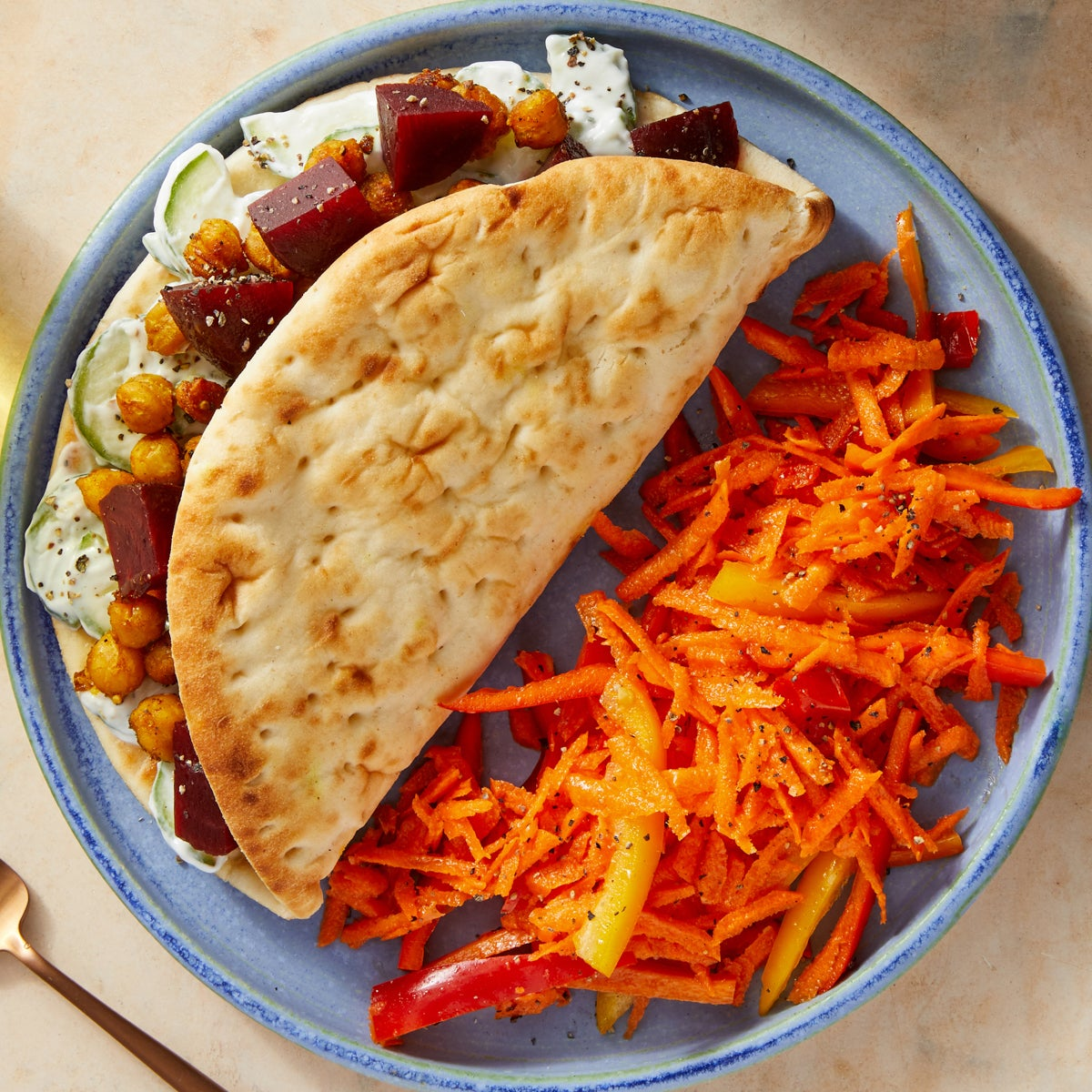 Vadouvan-Spiced Chickpea Pitas with Creamy Dressed Cucumbers & Beets