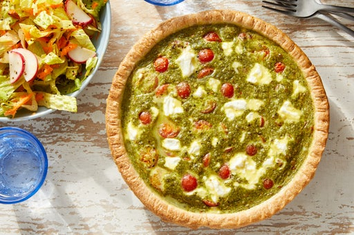 Pesto & Tomato Quiche with Romaine Salad & Honey Mustard Dressing
