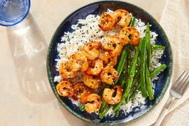 Teriyaki Shrimp & Rice with Spicy Sesame Green Beans
