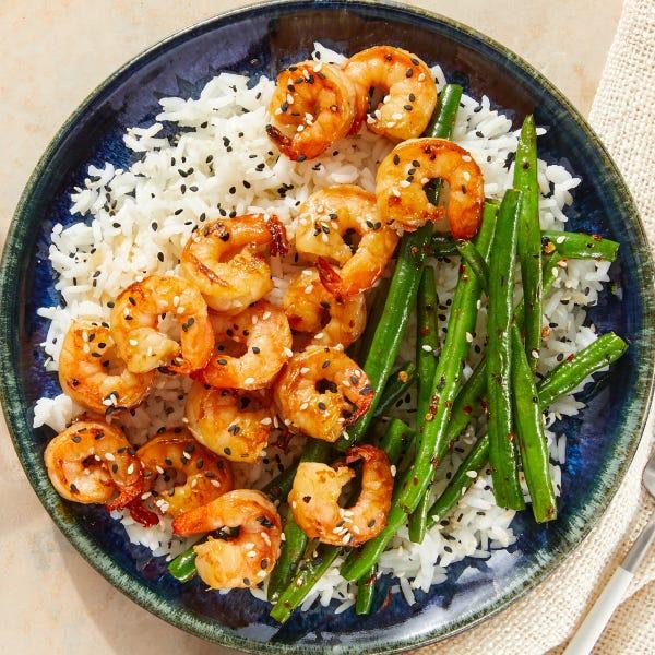 Teriyaki Shrimp & Rice with Spicy Sesame Green Beans