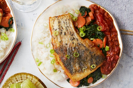 Barramundi & Caribbean Tomato Sauce with Coconut Rice & Spinach