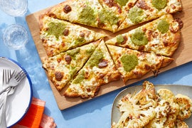 Yellow Tomato & Basil Pesto Pizza with Hot Honey Cauliflower