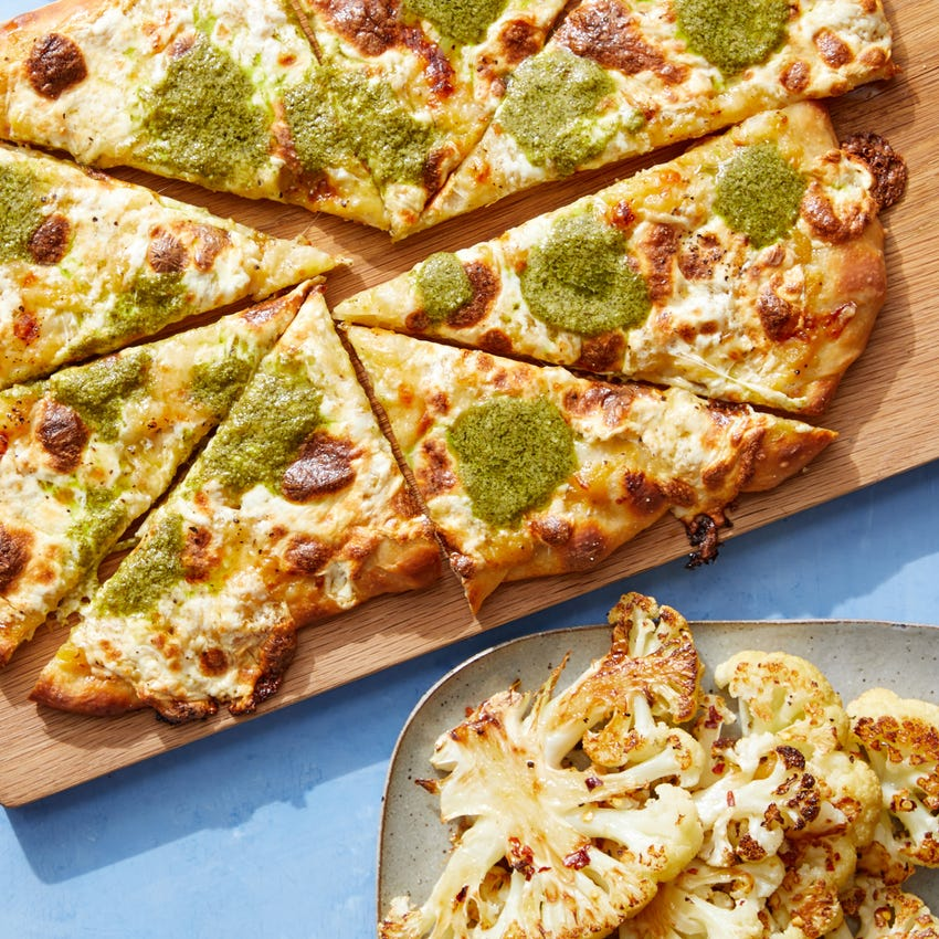 Yellow Tomato & Basil Pesto Pizza with Hot Honey Cauliflower