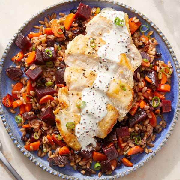 Seared Chicken over Vegetable Farro with Lemon-Dijon Sauce