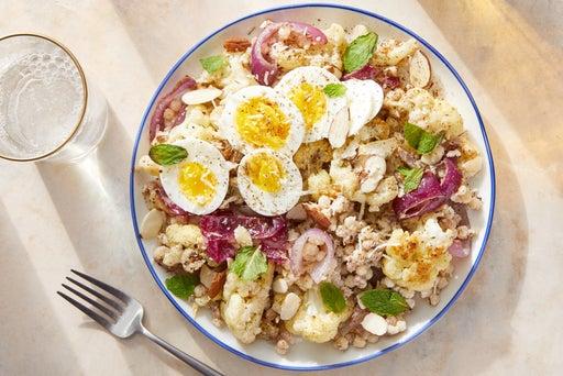 Fregola Sarda Pasta & Za'atar Vegetables with Hard-Boiled Eggs