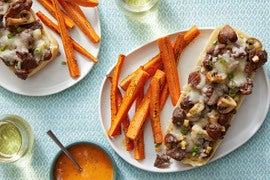 Cheesy Beef Baguettes with Roasted Carrots & Spicy Ranch