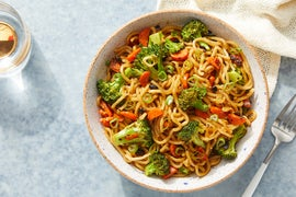 Vegetable Lo Mein with Spicy Sesame-Ginger Sauce