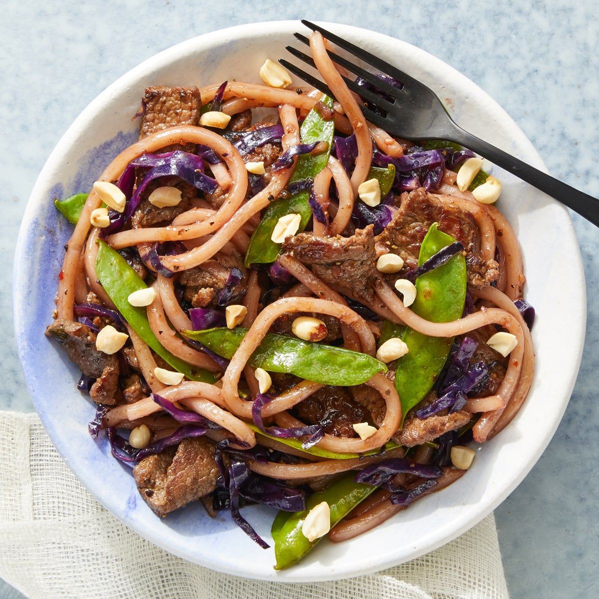 Soy-Glazed Beef & Udon Noodles with Snow Peas & Cabbage