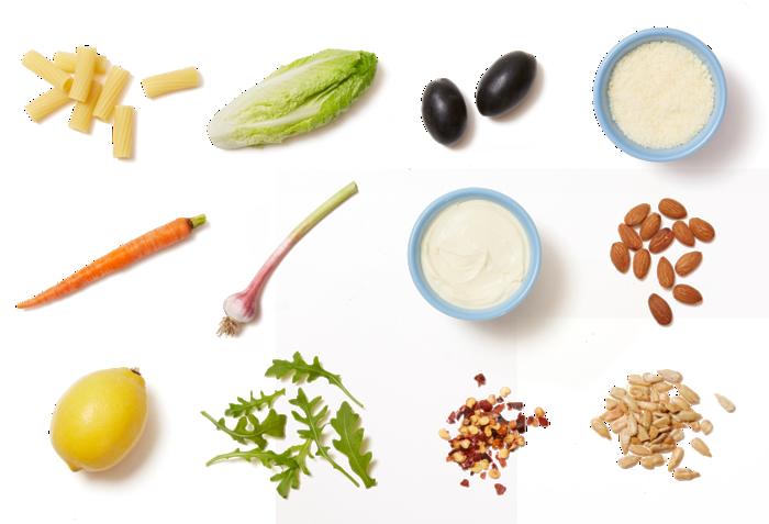 Green Garlic Pesto Pasta with Butter Lettuce Salad & Creamy Lemon Dressing ingredients