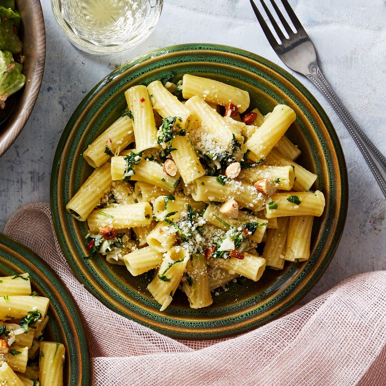 Green Garlic Pesto Pasta with Butter Lettuce Salad & Creamy Lemon Dressing