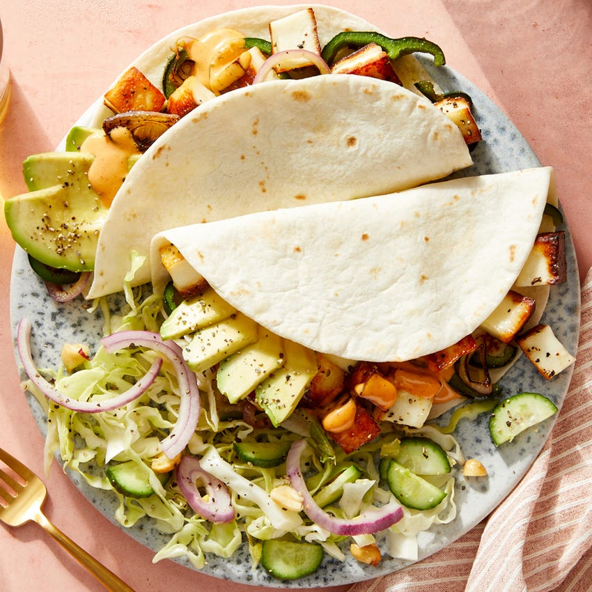 Paneer Tacos with Avocado & Creamy Chipotle Sauce