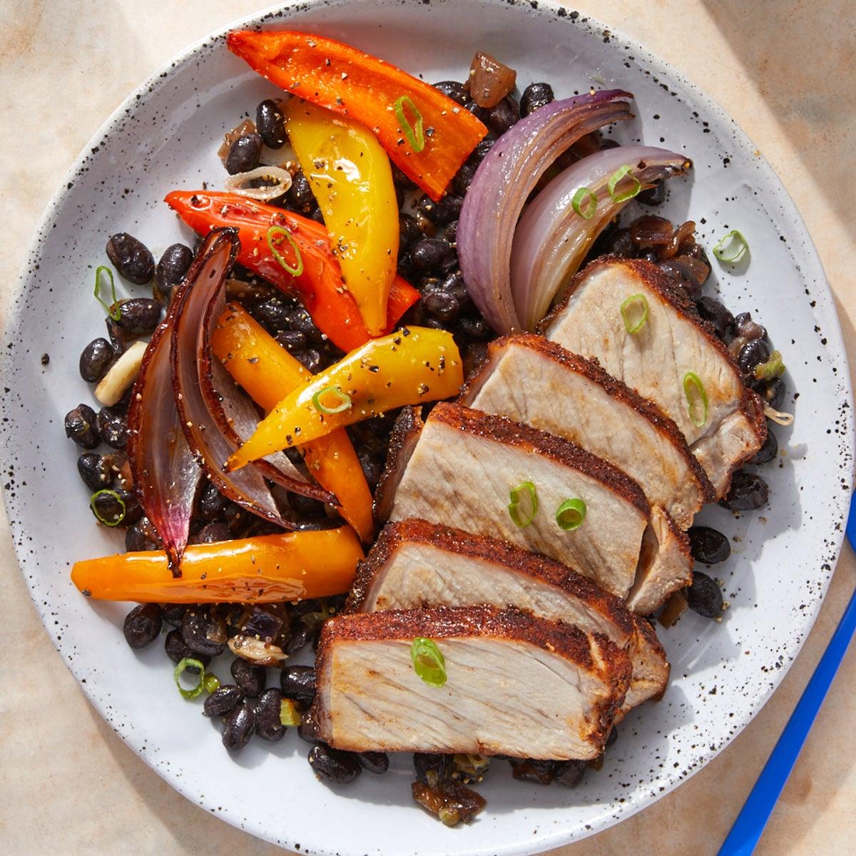 Mexican-Spiced Pork Roast with Caramelized Onion & Black Beans