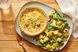 Tomato & Scallion Quiches with Honey-Mustard Potato Salad