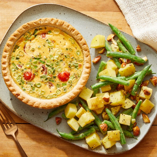 Tomato & Scallion Quiches with Honey-Mustard Potato Salad
