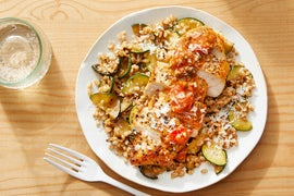 Oregano Chicken & Fresh Tomato Pan Sauce with Farro & Zucchini