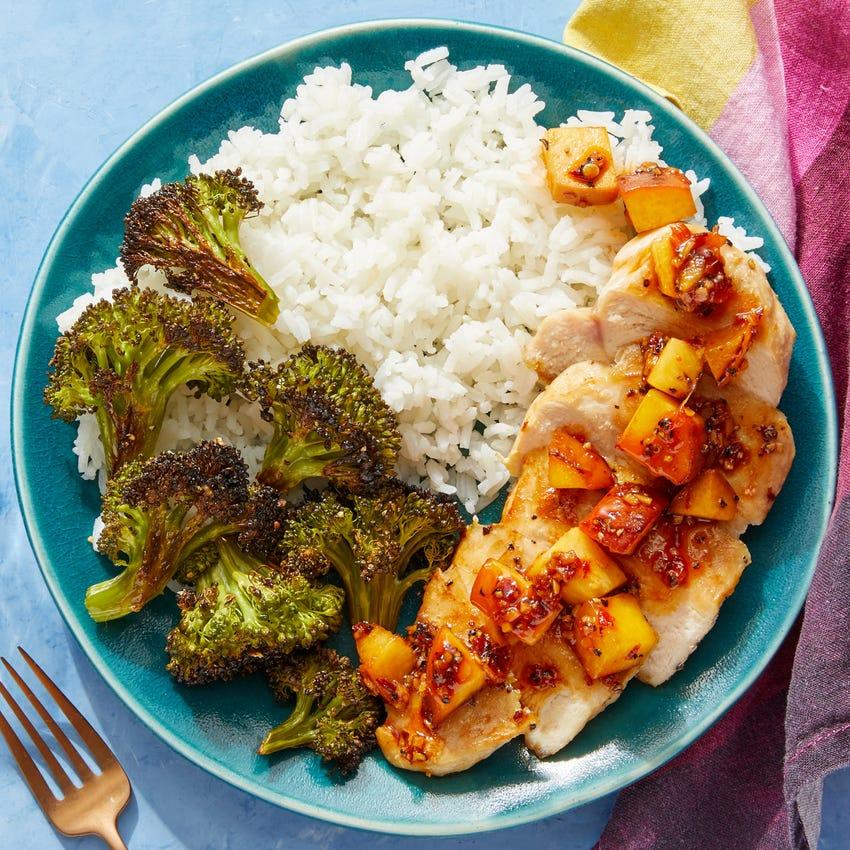 Chicken & Spicy Peach Pan Sauce with Sesame-Roasted Broccoli & Jasmine Rice