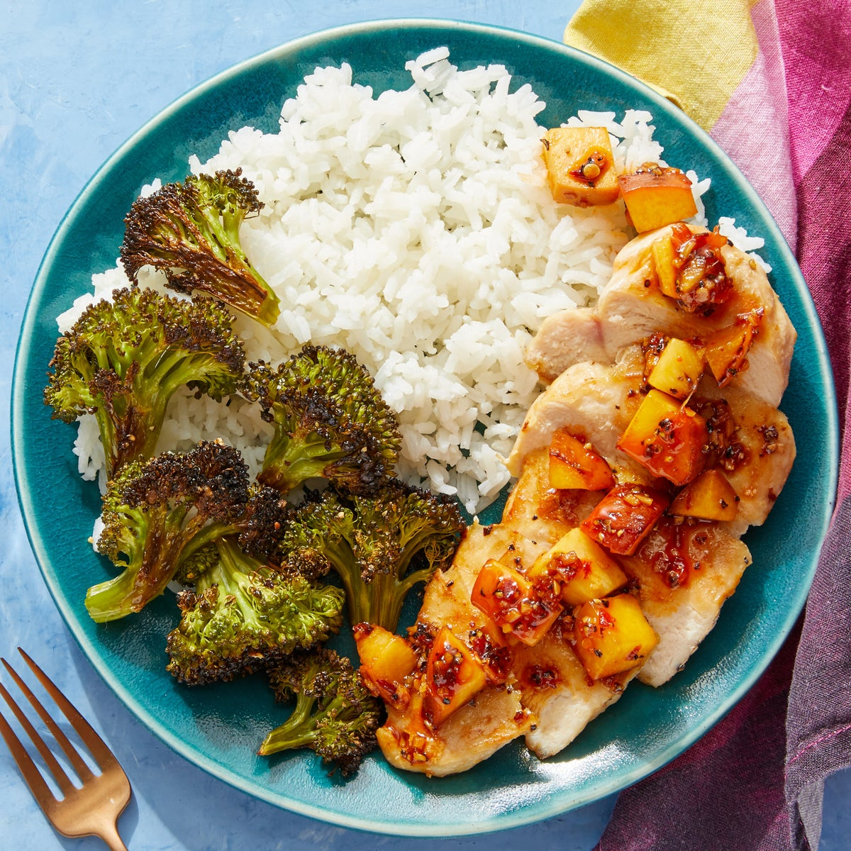 Chicken & Spicy Peach Pan Sauce with Sesame-Roasted Broccoli & Jasmine Rice