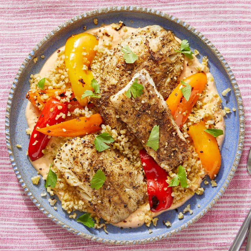Za'atar-Spiced Wild Alaskan Pollock with Sweet Peppers & Harissa Yogurt Sauce