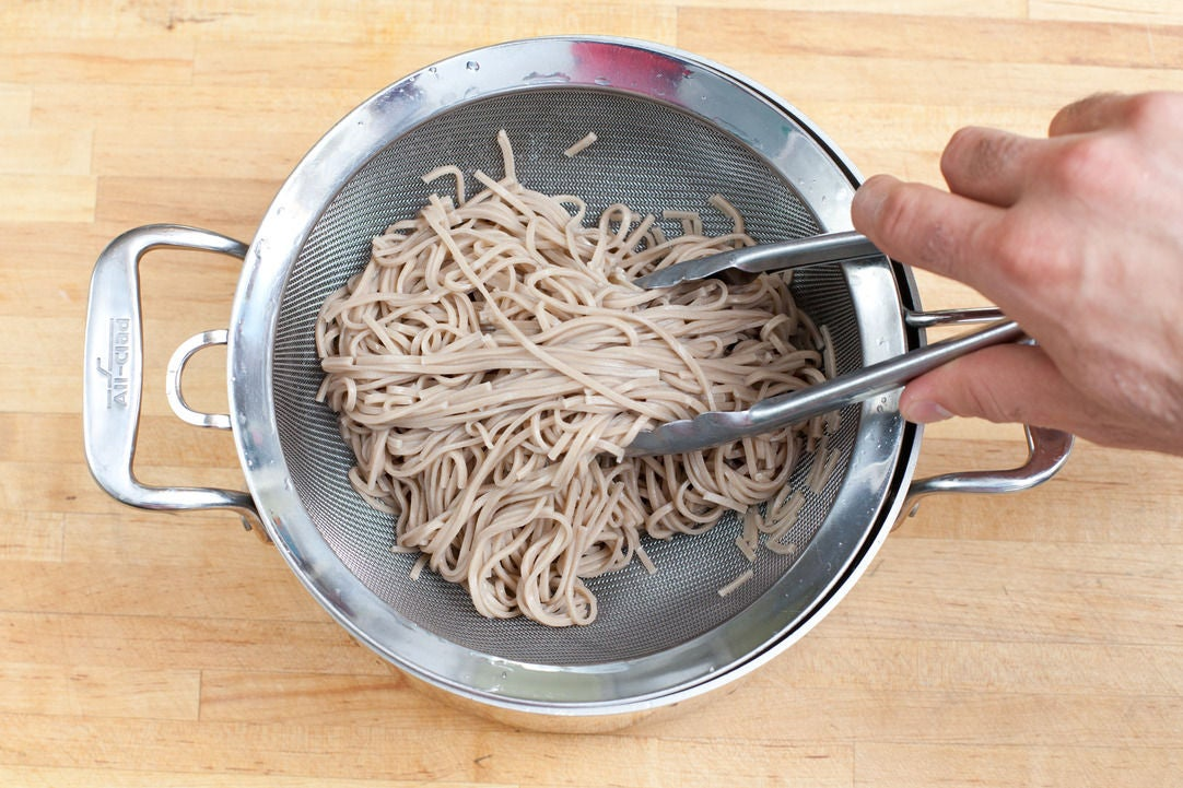 Cook the soba noodles: