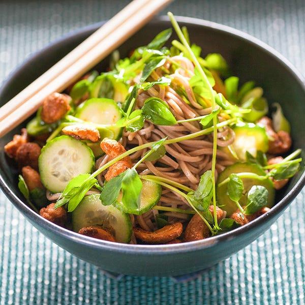 Chilled Sesame Soba Noodle Salad with Spiced Cashews