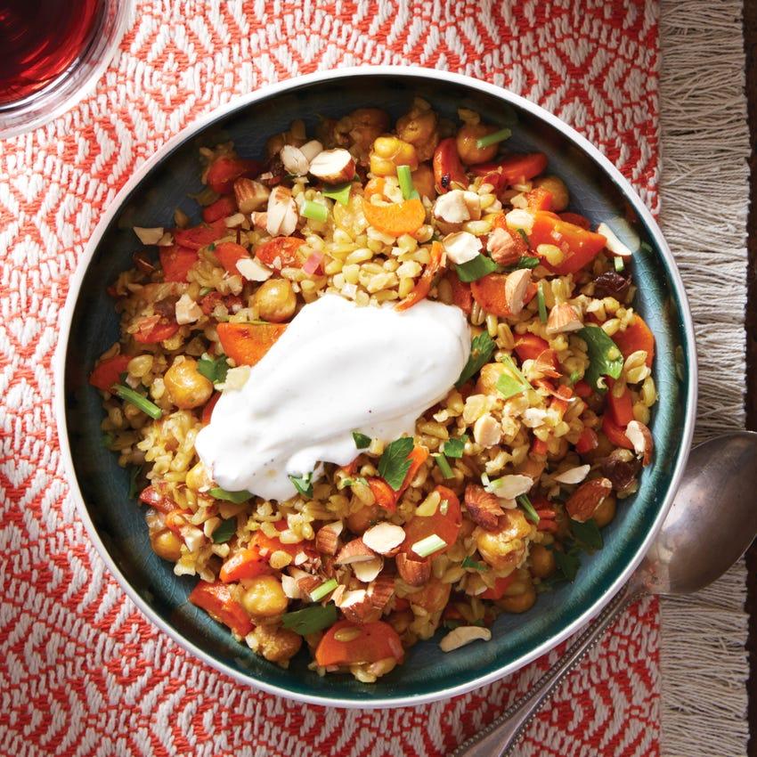 Crispy Chickpea & Freekeh Salad with Lemon Labneh & Harissa-Glazed Carrots
