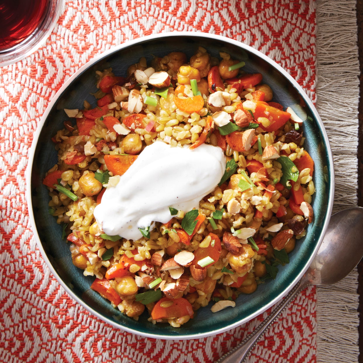 Crispy Chickpea & Freekeh Salad with Lemon Labneh & Harissa-Glazed Carrots