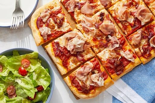 Prosciutto Pizza with Caramelized Onion & San Marzano Tomatoes
