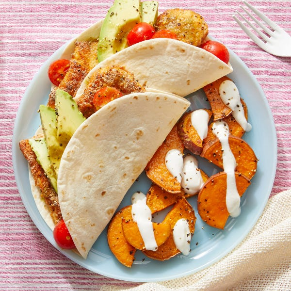 Spiced Fish & Avocado Tacos with Roasted Sweet Potatoes
