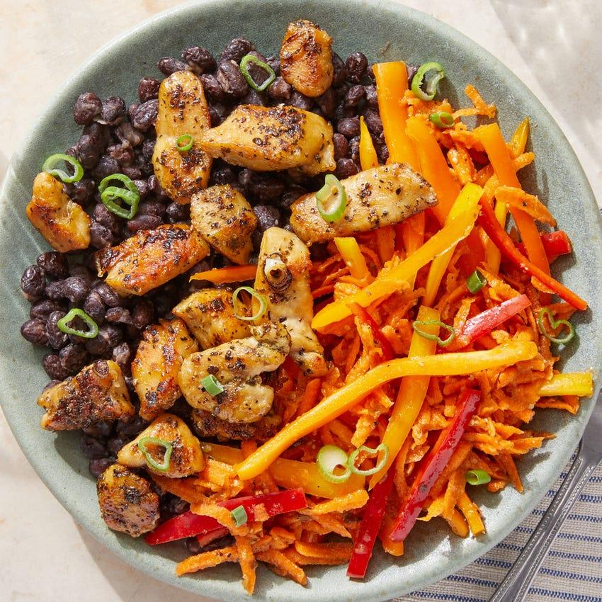 Garlic & Citrus-Glazed Chicken with Black Beans & Carrot-Pepper Slaw