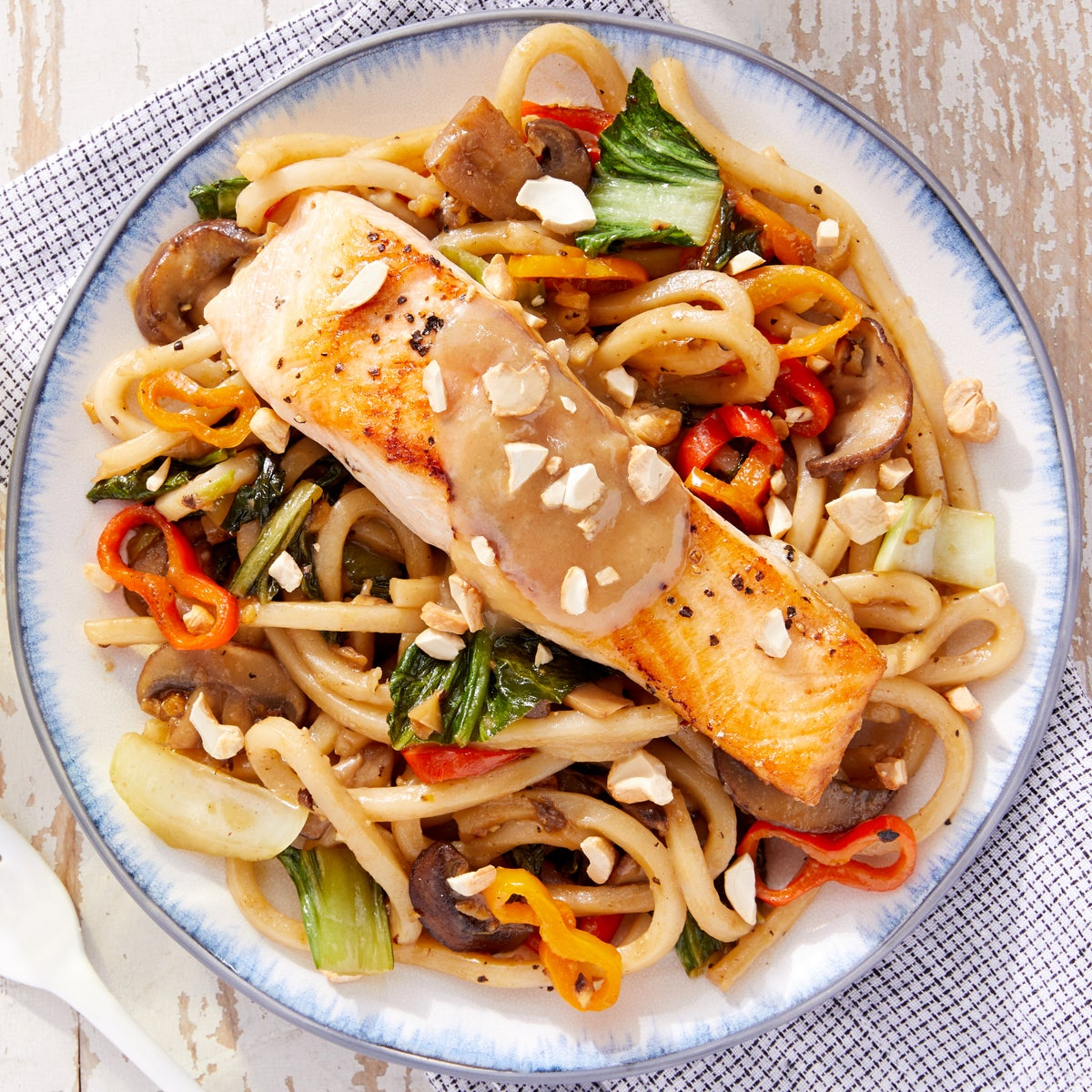 Miso-Honey Salmon with Vegetable & Udon Stir-Fry