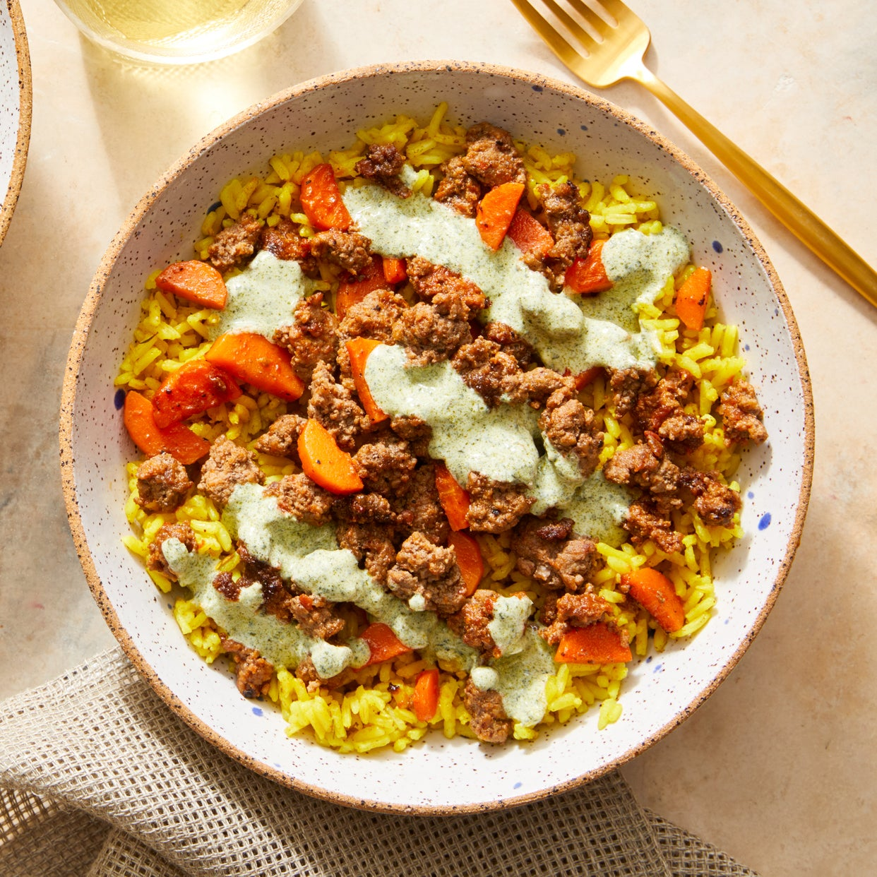 Beef & Curry-Spiced Rice with Creamy Cilantro Sauce