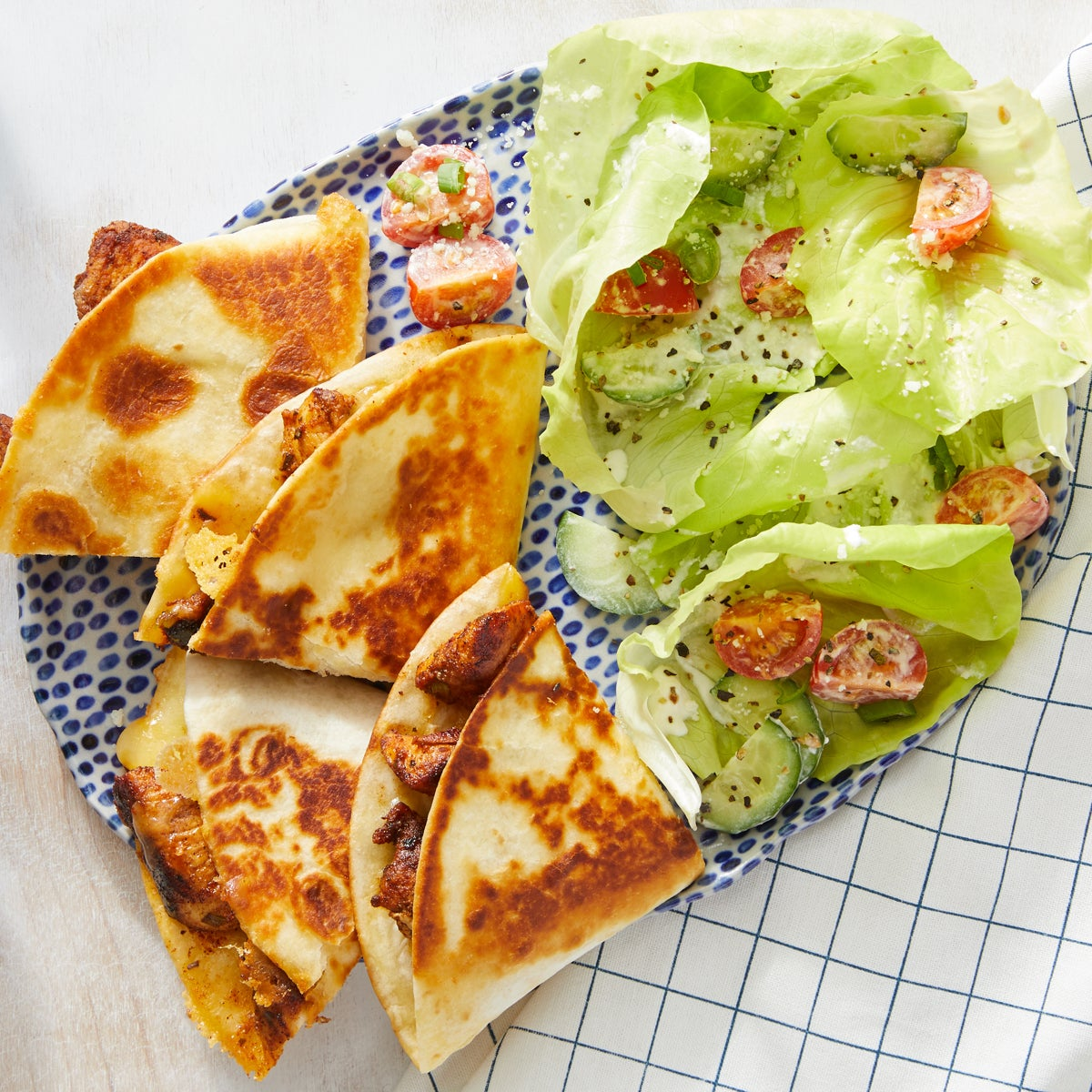 Mexican-Spiced Chicken Quesadillas with Tomato & Butter Lettuce Salad