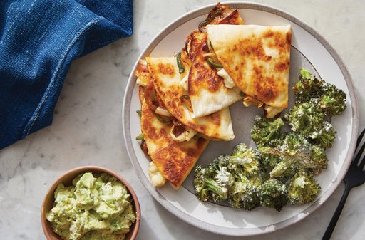 Spicy Vegetable Quesadillas with Creamy Roasted Broccoli