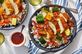 Curry-Spiced Chicken with Zucchini, Peppers & Scallion Rice