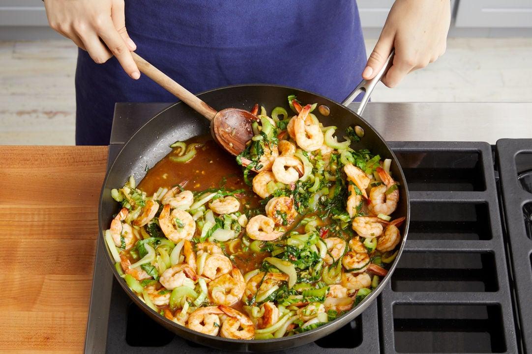 Cook the shrimp & bok choy: