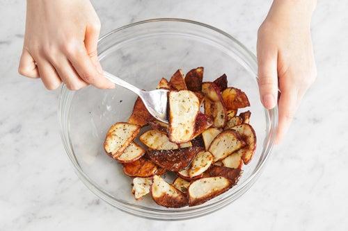 Finish the potatoes & serve your dish: