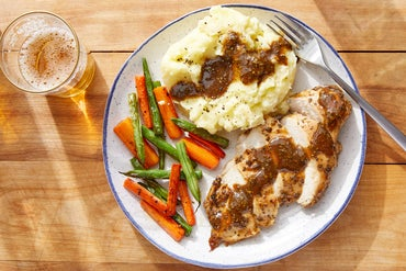 Balsamic Baked Chicken & Mashed Potatoes with Garlic-Sautéed Green Beans & Carrots