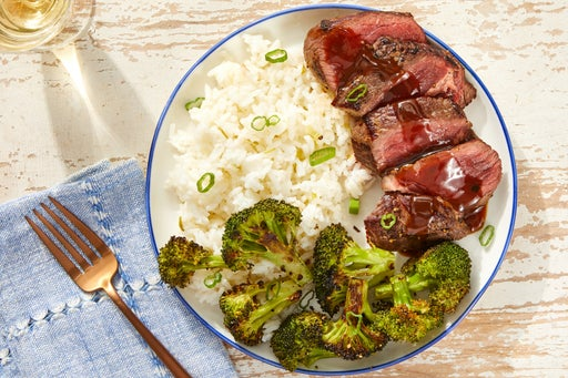 Seared Steaks & Hoisin Pan Sauce with Jasmine Rice & Broccoli