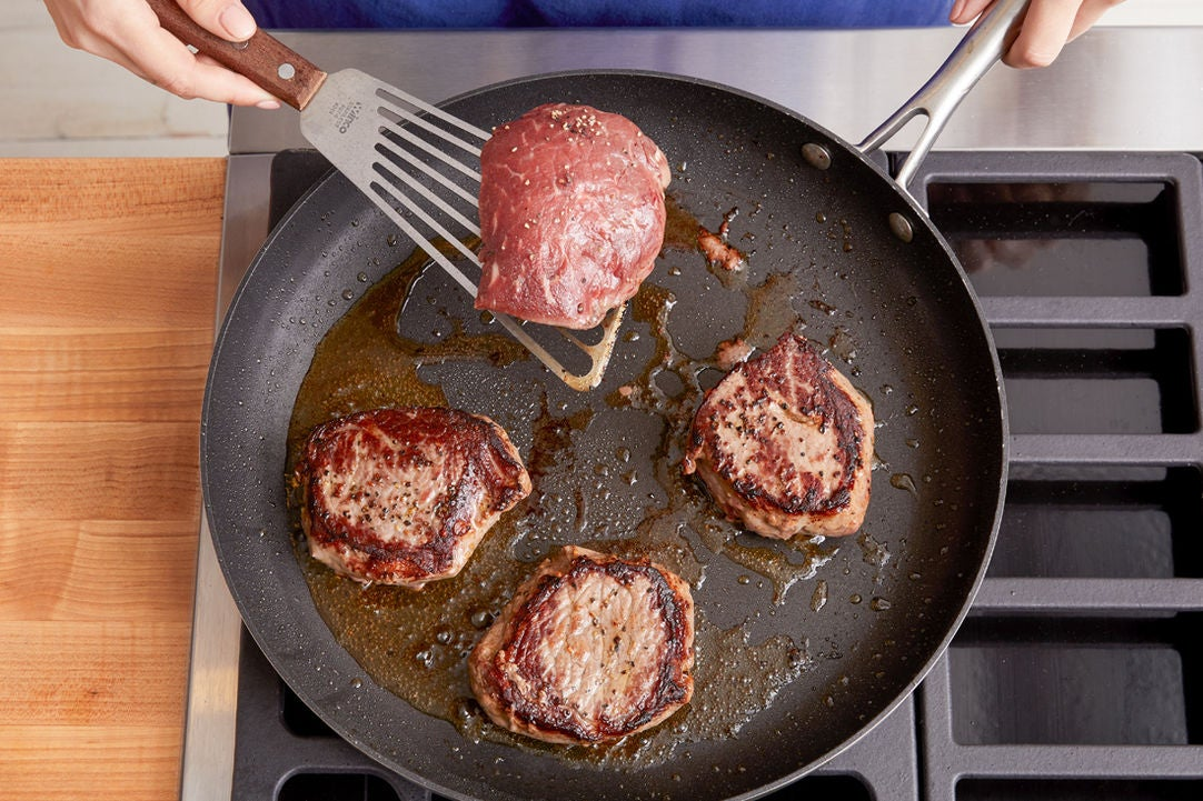 Cook the steaks: