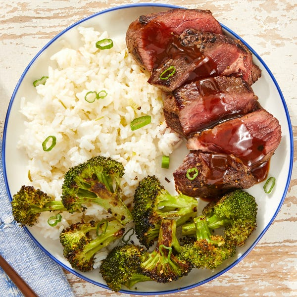 Seared Steaks & Hoisin Pan Sauce with Jasmine Rice & Broccoli