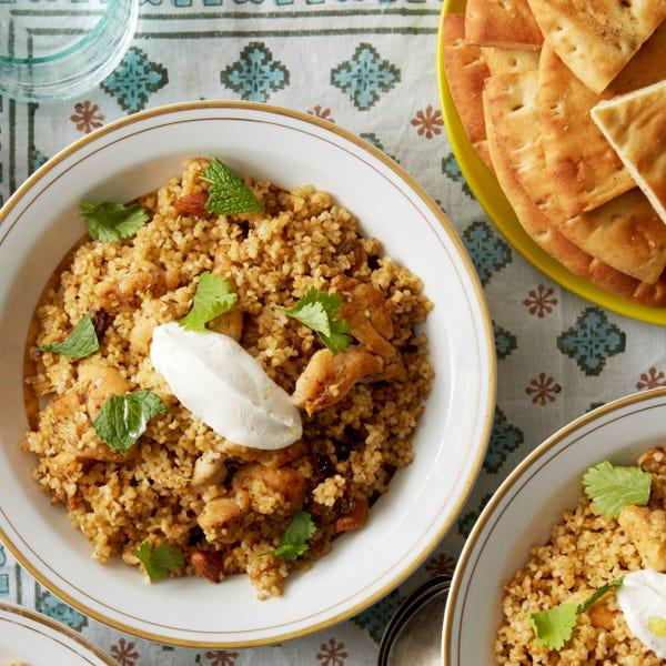 Za'atar-Spiced Chicken & Bulgur with Yogurt Sauce & Pita Chips