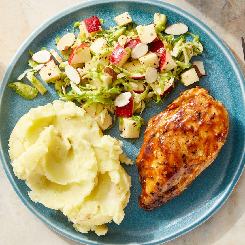 BBQ-Glazed Chicken with Mashed Potatoes & Creamy Brussels Sprout Slaw