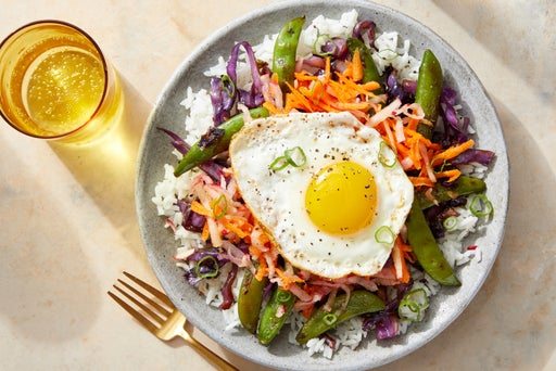 Sesame Vegetable & Rice Bowls with Marinated Radishes & Fried Eggs