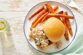 Mediterranean Chicken Salad Sandwiches with Za'atar Carrot Fries