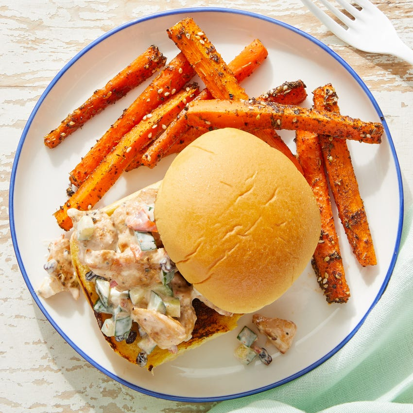 Mediterranean Chicken Salad Sandwiches with Za'atar Carrot Fries