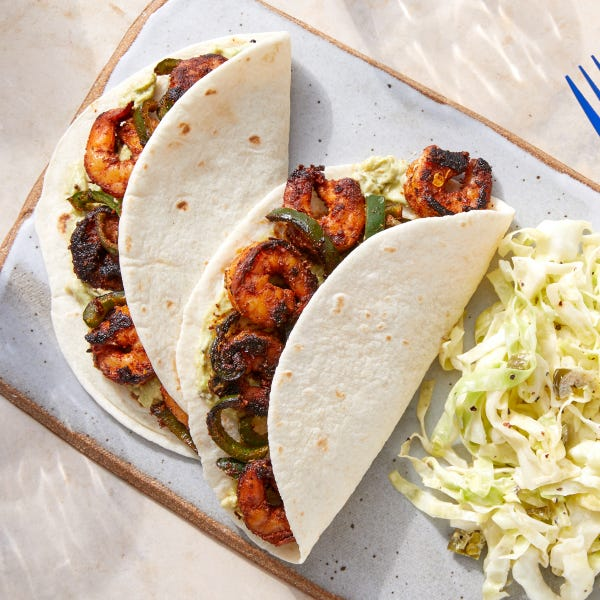 Mexican-Spiced Shrimp Tacos with Guacamole &  Spicy Cabbage Slaw