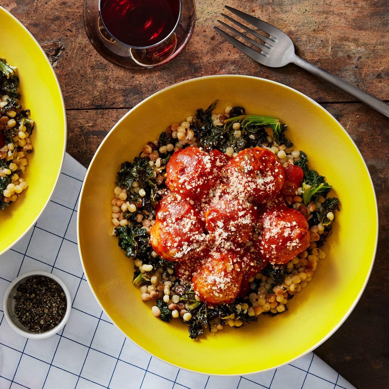 Chicken Meatballs & Fregola Sarda with Kale & Sicilian Tomato Sauce
