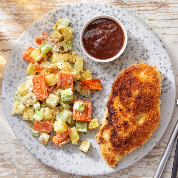Crispy Chicken & Potato Salad with Cherry-Barbecue Dipping Sauce